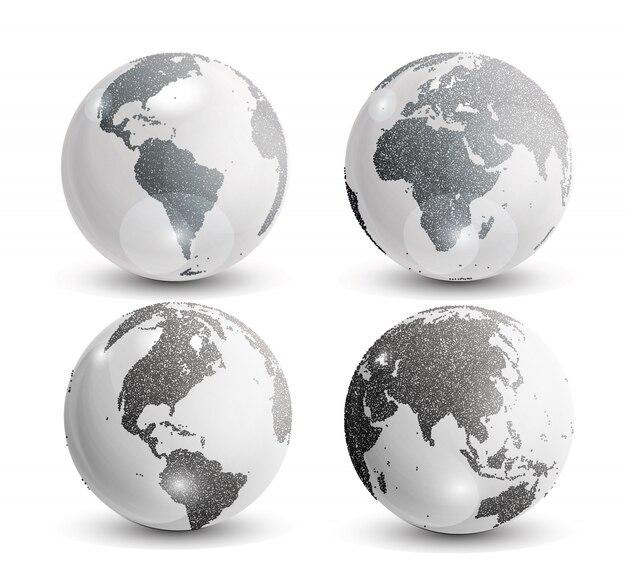 Realistyczna mapa świata w kształcie kuli ziemskiej