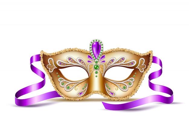 Realistyczna maska wenecka mardi gras, symbol karnawału w brazylii