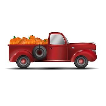 Realistyczna maszyna samochodowa pełna warzyw. czas letni rolnictwo rolnicze