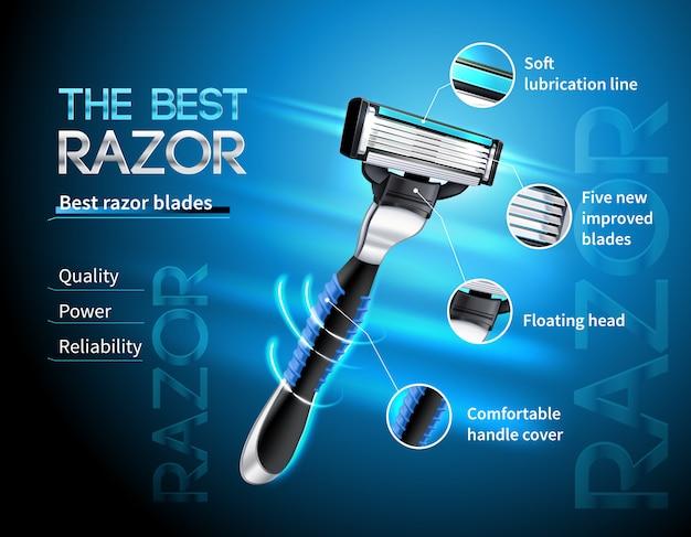 Realistyczna maszynka do golenia z pięcioma ostrzami i pływającą głową reklamową na gradientowym niebieskim szablonie