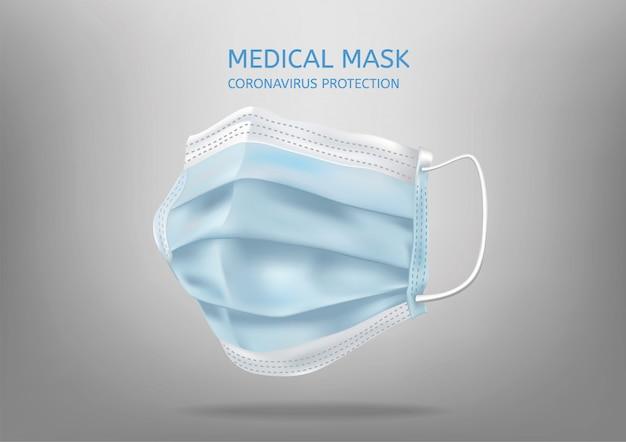 Realistyczna medyczna maska na twarz. szczegóły 3d maska medyczna. ilustracja