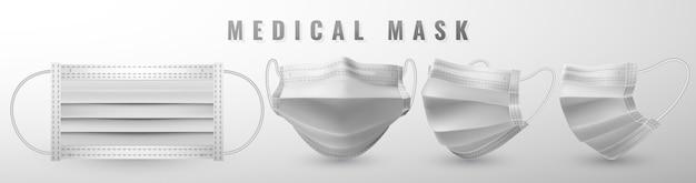 Realistyczna medyczna maska na twarz. szczegóły 3d maska medyczna.