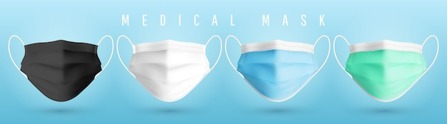 Realistyczna medyczna maska na twarz. szczegóły 3d maska medyczna. .