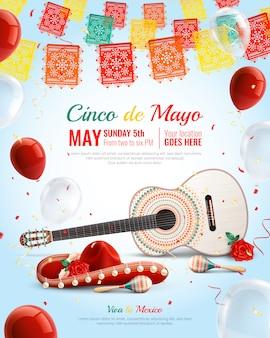 Realistyczna meksykańska świąteczna kompozycja cinco de mayo z balonami gitarowymi marakasy sombrero