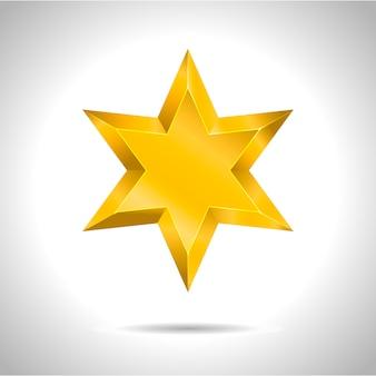 Realistyczna metaliczna złota gwiazda na białym tle