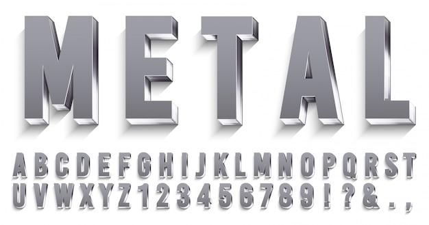 Realistyczna metalowa czcionka. błyszczące metalowe litery z cieniami, tekstem chromowanym i zestawem alfabetu metali