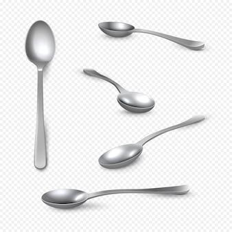 Realistyczna metalowa łyżka. srebrna 3d łyżeczka na białej, błyszczącej łyżce ze stali nierdzewnej