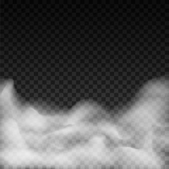 Realistyczna mgła lub dym na przezroczystym tle. ze specjalnym efektem dymu.