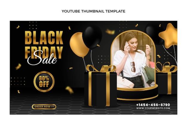 Realistyczna miniatura youtube w czarny piątek