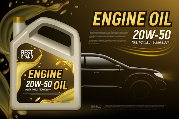 Realistyczna motorowego oleju samochodowego sylwetka reklamuje tło z editable tekstem i składem produktu pakunku wizerunki ilustracyjni