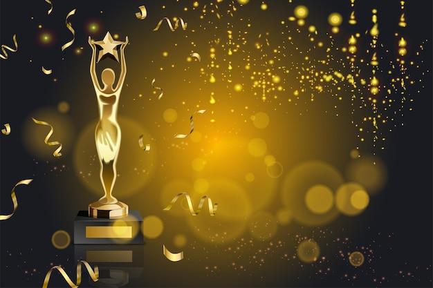 Realistyczna nagroda ze światłami, złotym konfetti i trofeum z figurką trzymającą gwiazdę ilustracji
