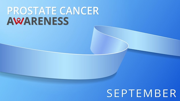 Realistyczna niebieska wstążka. plakat miesiąca świadomości raka prostaty. ilustracja wektorowa. koncepcja solidarności światowego dnia raka prostaty. niebieskie tło.