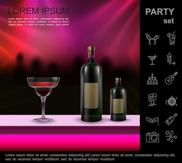 Realistyczna nocna dyskoteka jasna kompozycja z koktajlem i butelkami na blacie barowym tańczących ludzi tłum sylwetka i zestaw ikon imprezowych