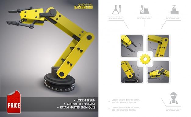 Realistyczna, nowoczesna kompozycja przemysłowa z mechanicznym manipulatorem robotycznym i ikonami przemysłu naftowego