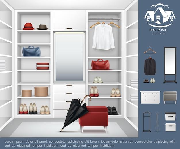 Realistyczna nowoczesna koncepcja garderoby z półkami, szufladami pełnymi męskich i damskich akcesoriów odzieżowych oraz ilustracji elementów wnętrza szatni