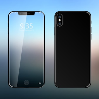 Realistyczna nowoczesna koncepcja nowego smartfona.