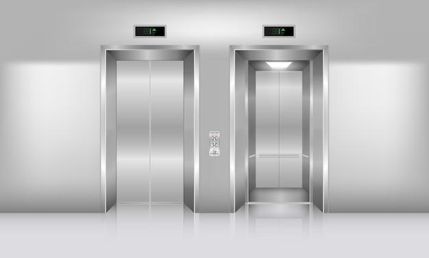 Realistyczna nowoczesna winda i dekoracja wnętrz, wejście do windy w holu i budynek biurowy z dostępem do hali.