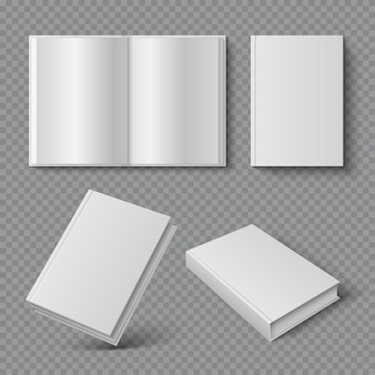 Realistyczna okładka książki. pusta okładka broszury, biała miękka powierzchnia, pusty katalog czasopism z podręcznikami. zestaw 3d