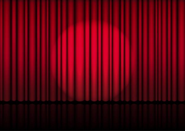Realistyczna otwarta czerwona zasłona na scenie lub kino