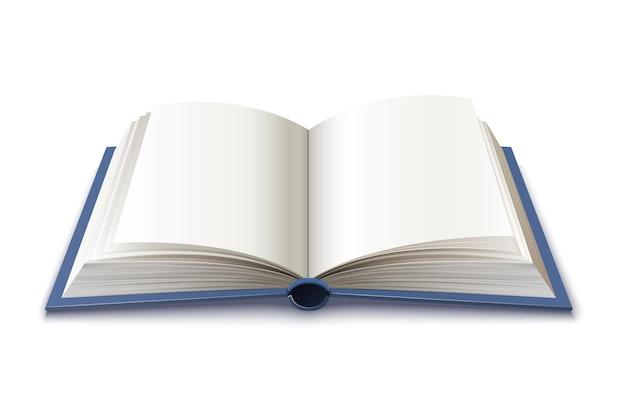 Realistyczna otwarta książka w twardej oprawie ilustracji