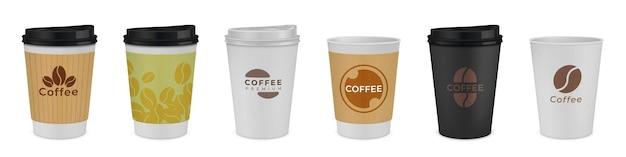 Realistyczna papierowa filiżanka kawy ilustracja