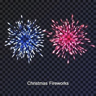 Realistyczna para świątecznych fajerwerków