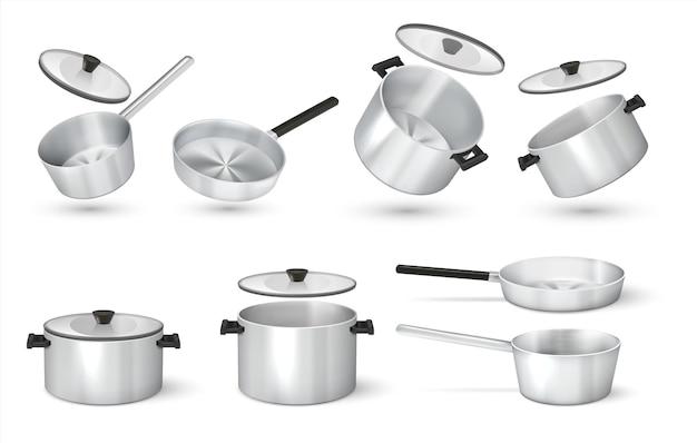 Realistyczna patelnia. stalowe garnki z peleryną, metalowy rondel i patelnia, izolowane naczynia. grafika wektorowa 3d aluminiowa patelnia i przybory kuchenne