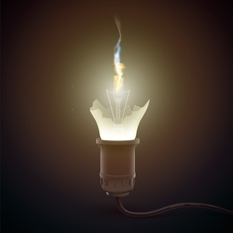 Realistyczna pęknięta żarówka z ogniem wewnątrz świeci dookoła