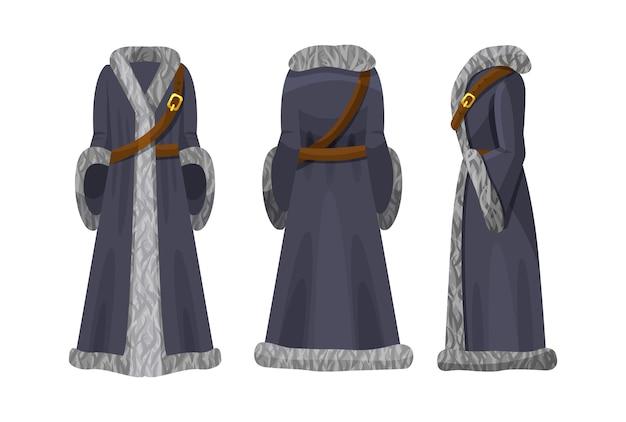 Realistyczna peleryna kobieca w płaszczu dowódcy wojskowego z futrzanym kołnierzem.
