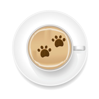 Realistyczna pianka coffee art z nadrukiem shape paw. widok z góry