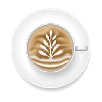 Realistyczna pianka coffee art z shape rosetta. widok z góry