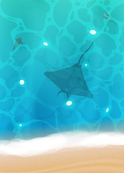 Realistyczna piaszczysta plaża z niebieską wodą