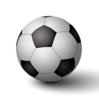 Realistyczna piłka dla ikony piłki nożnej na białym tle