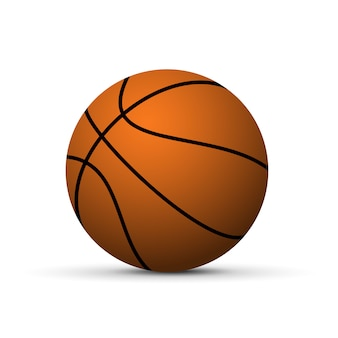 Realistyczna piłka do koszykówki z cieniem na białym tle