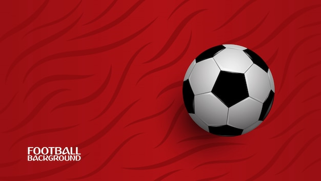 Realistyczna piłka nożna na czerwonym tle