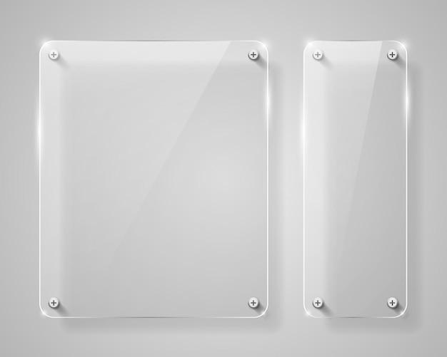 Realistyczna pionowa przezroczysta szklana rama z cieniem