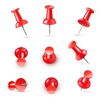 Realistyczna plastikowa błyszcząca czerwona pinezka