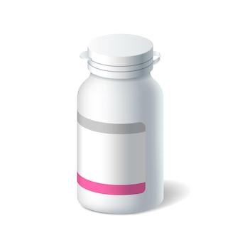 Realistyczna plastikowa butelka na pigułki, leki w płynie, środek przeciwbólowy, witaminy lub leki