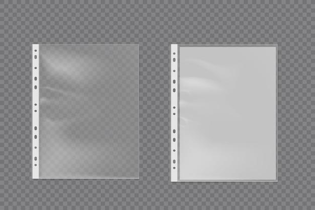 Realistyczna plastikowa torba na arkusz a4. dziurkowany wektor zestaw plików firmy kieszonkowej. ilustracja wektorowa na przezroczystym tle.