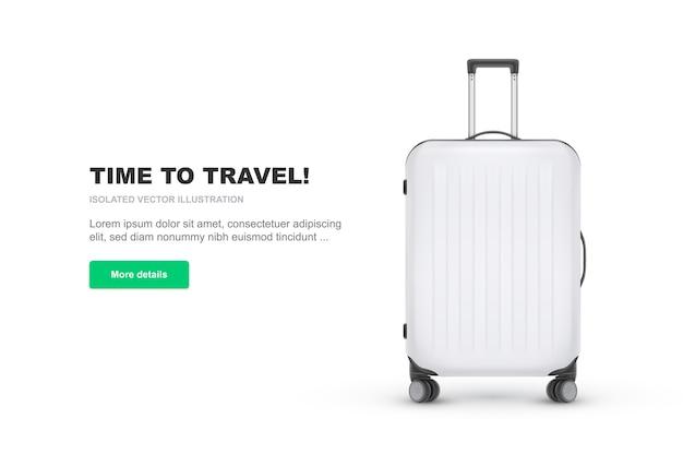 Realistyczna plastikowa walizka na białym tle