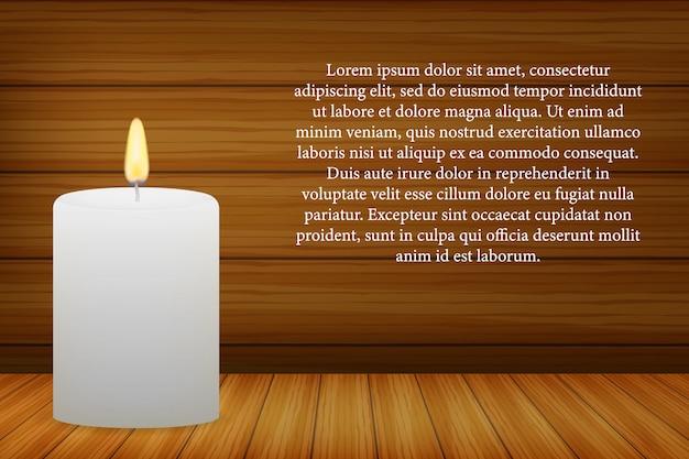 Realistyczna płonąca świeczka na ciemnej drewnianej ścianie.
