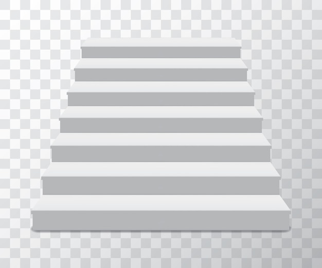 Realistyczna podstawa cokołu ze schodami. trybuna, podium produktowe, podest. pusty minimalny kształt geometryczny do salonu wystawowego