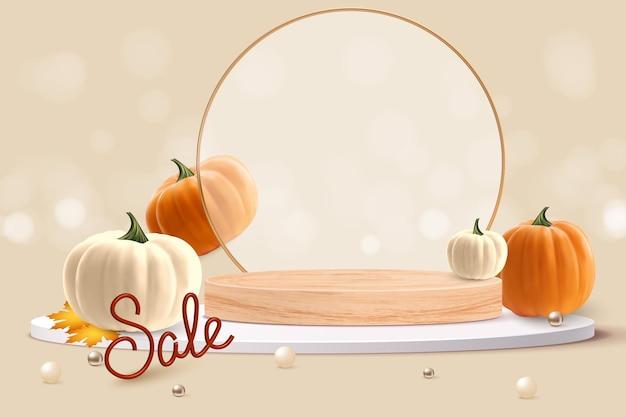 Realistyczna pomarańczowa i biała dynia ze złotym liściem w pobliżu podium szczęśliwego tła sprzedaży tanksgiving