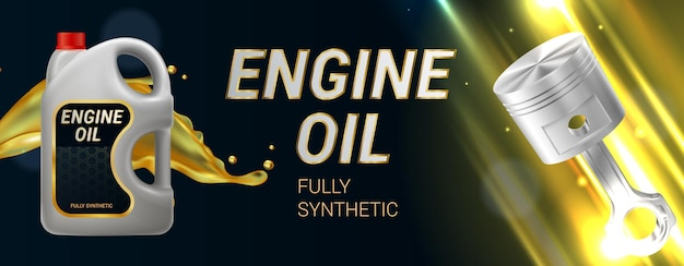 Realistyczna pozioma ilustracja oleju silnikowego z tłokiem z plastikowego pojemnika i całkowicie syntetycznym tekstem