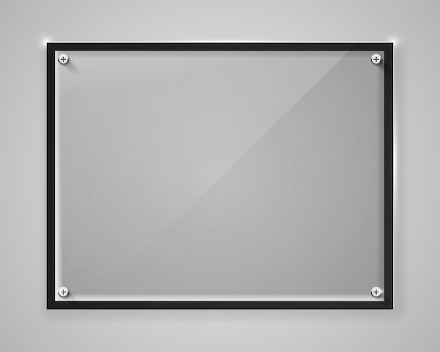 Realistyczna pozioma przezroczysta szklana rama z cieniem