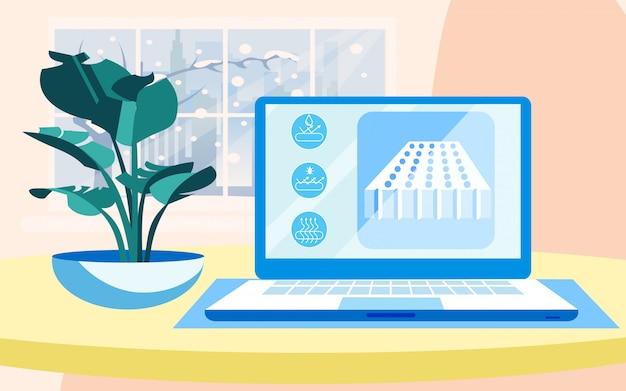 Realistyczna prezentacja laptopa na materacu perforowanym