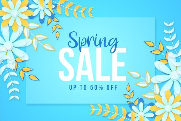 Realistyczna promocja wiosennej sprzedaży kwiatów w stylu papierowym