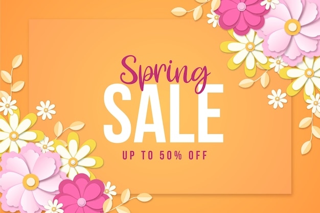 Realistyczna promocja wiosennej sprzedaży kwiatów