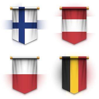 Realistyczna proporczyk flaga finlandii, austrii, polski i belgii