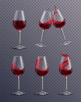 Realistyczna, przejrzysta kolekcja szklanek wypełnionych czerwonym winem